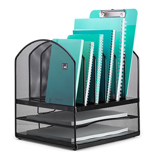 Mindspace Letter & File Desktop Organizer with 6 Vertical + 2 Horizontal Sections | The Mesh Collection, Black - Six Horizontal Sections