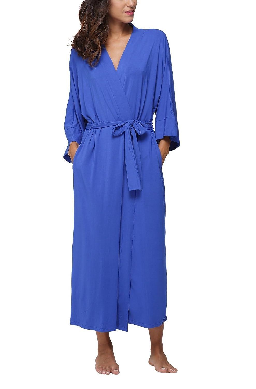 3463b429b1e Women s Soft Cotton Wrap Robe Long Bathrobe Nightgown Sleepwear ...