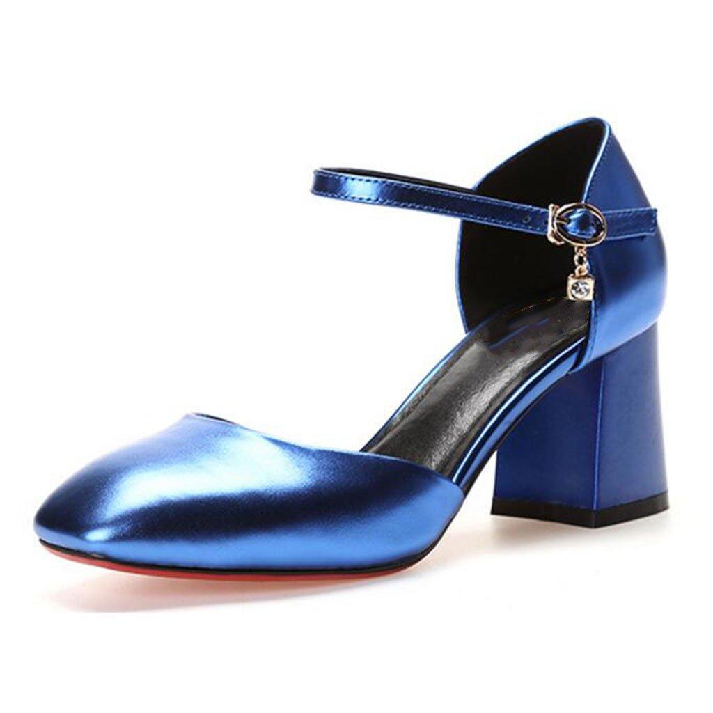 MUMA Pumps Rough mit mit Rough einzelnen Schuhen weibliche High Heel Square Head Damen hohle weibliche Schuhe blau Gun Farbe rot ( Farbe : Blau , größe : EU36/UK3.5/CN35 ) Blau 748db2