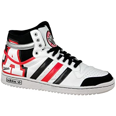 newest 2d63e a5466 Adidas Originals Top Ten High Trainers White Black Red UK 11.5