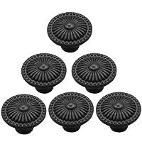Möbelknöpfe, WOLFBUSH 6Pcs nette runde keramische Knopf mit Blumen Geprägte Türknauf Schubladengriff ziehen - Schwarz