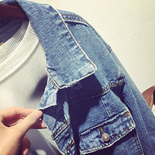 Bleu Lunga Outerwear Clair Donna Manica Di Jeans Giacca Cappotti Casual Strappato RnxCwqzpB