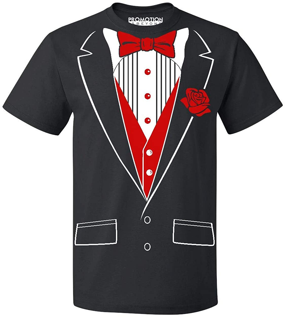 P&B Tuxedo Red Rose Funny Men's T-Shirt