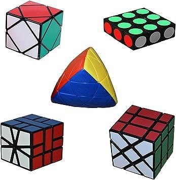 MSZtech Cubo mágico Juego de 5 Pack Incluye 1x3x3 + Cuadrado 1 + ...