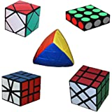 MZStech Magic Cube Ensemble de 5 Pack Inclut 1x3x3 + Carré 1 + Skewb + Mastermorphix + Fisher Cube
