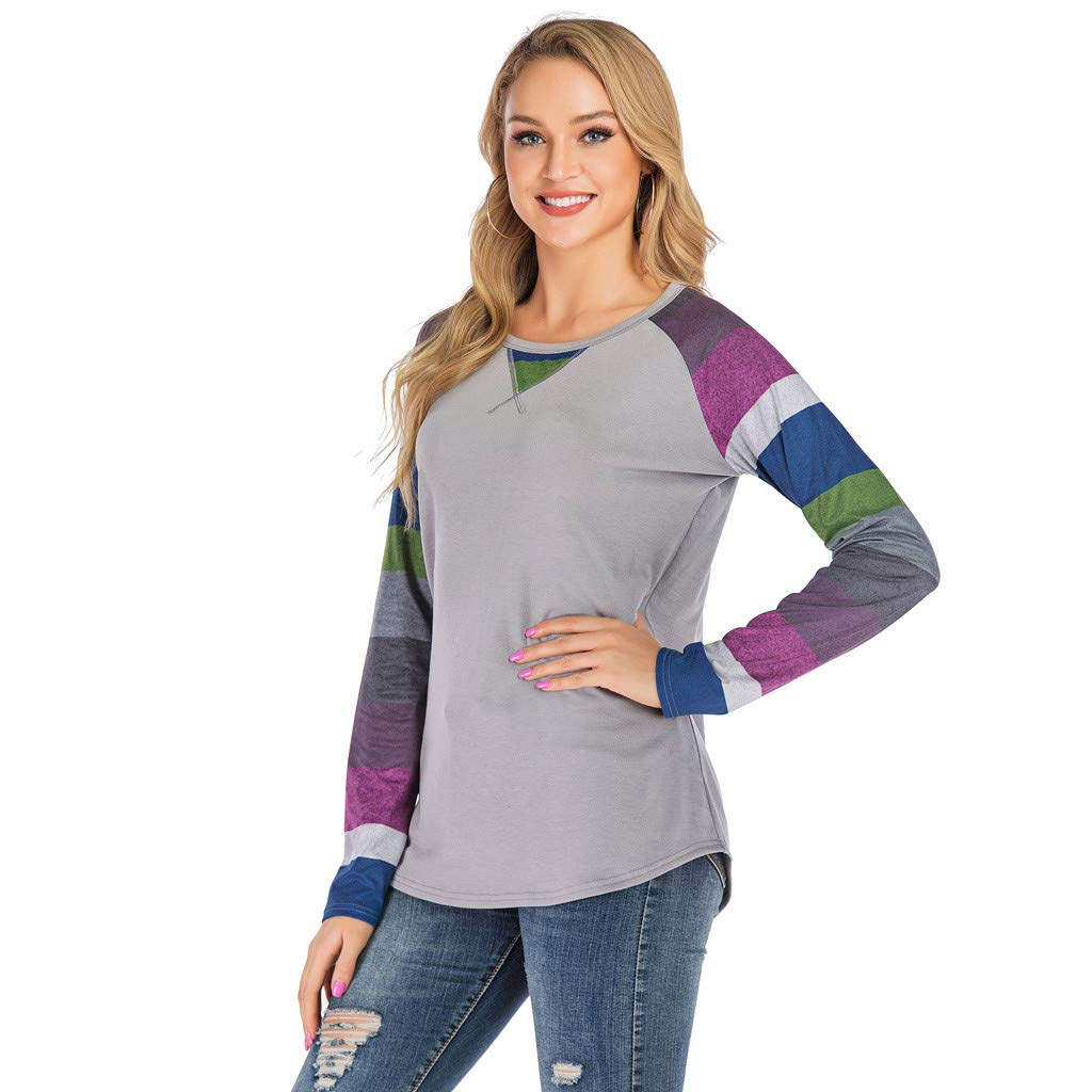 aihihe Tops for Women Long Sleeve Crewneck Side Split Casual Loose Soft Pullover Basic Printed Solid Tunic T-Shirts