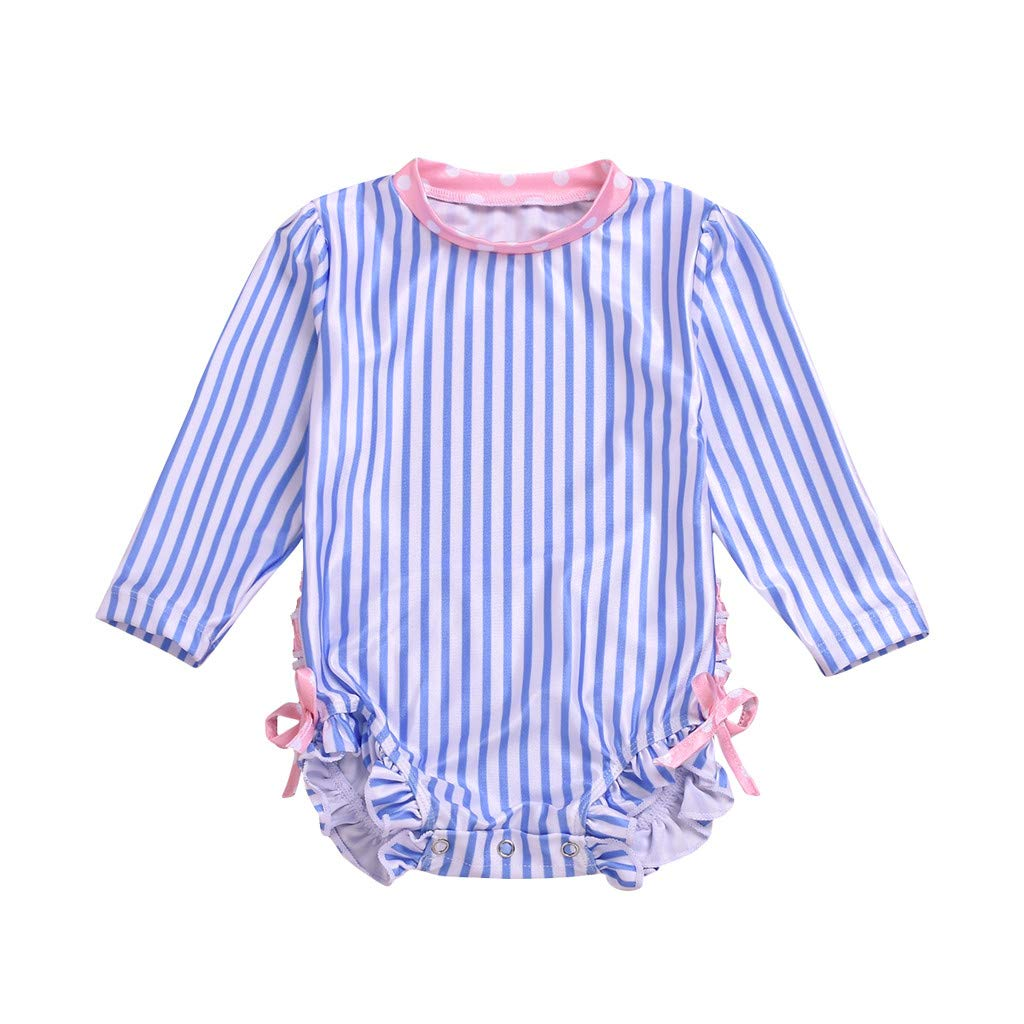 Long Sleeve Swimwear for Baby Girl Striped Dot Ruffle Crewneck Sun Protection Swimsuit (Blue, Recommend Age:0-6 Months)