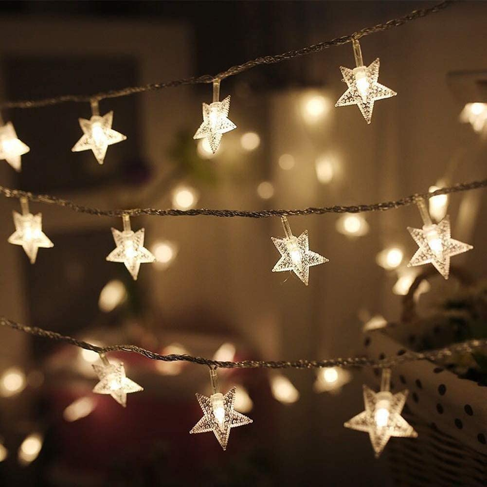Twinkle Star 100 LED 49 FT Star String Lights, Plug in Fairy String Lights Waterproof, Extendable for Indoor, Outdoor, Ramadan, Wedding Party, Christmas Tree, New Year, Garden Decoration, Warm White: Home Improvement