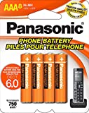 Panasonic Genuine HHR-4DPA/8BA AAA NiMH Rechargeable Batteries for DECT Cordless Phones, 8 Pack