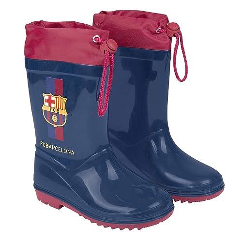 Botas de Agua para Niño Oficial Barcelona Futbol Club - Botines Impermeables de Barça FCB para