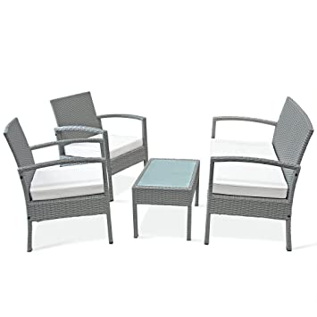 7d09d2cedf7 Deuba Rattan Garden Furniture Set Sofa 2 Chairs Bench Side Table -  Conservatory Outdoor Patio