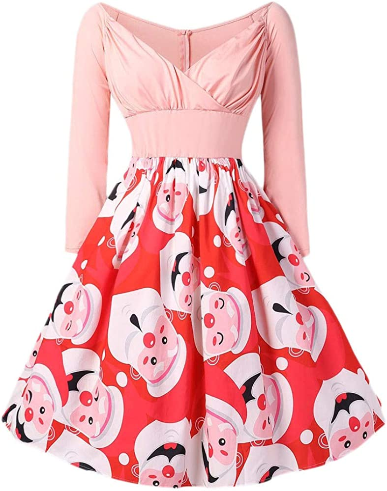 LILICAT❋ Vestido Rosa con Estampado Vintage de Papá Noel y ...
