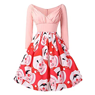 5640ba1d4bad GIFC Fashion Christmas Women Long Sleeve Santa Claus Print Vintage Party  Midi Swing Dress at Amazon Women's Clothing store: