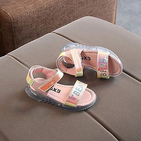 YWLINK Al Aire Libre LED Sandalias Deportivas NiñOs Comercio Exterior Zapatillas De Deporte De Cuero Brillante Iluminadas Sin Dedos Sandalias Zapatos De Playa Rosa, Blanco, Negro 21-30