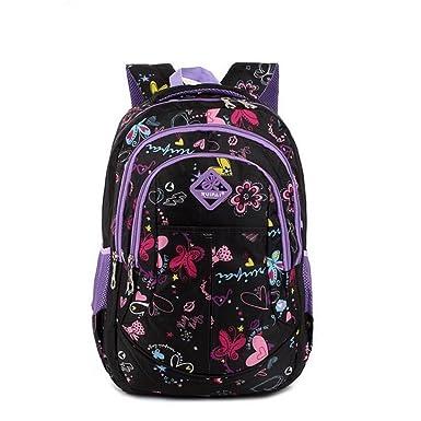 1cc8e783a4 Ruipai Flowers Pattern School Backpack for Girls Bookbag Outdoor Daypack  (purple)