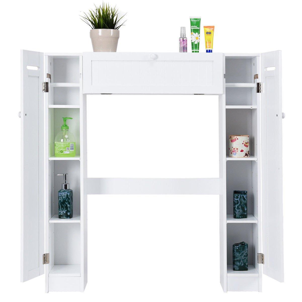 Wooden Over The Toilet Storage Cabinet Drop Door Spacesaver Bathroom White