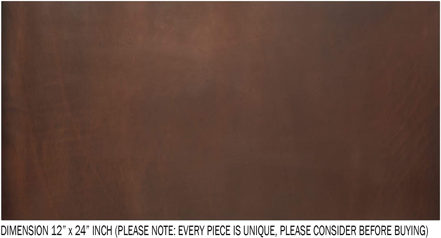 Crazy Horse Leather Cowhide Leather Full Grain Leather Hide CP 4-5 oz Tooling Leather Sheets for Crafts Brown, 5 x 5