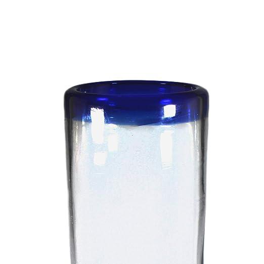 Juego de 4 vasos para agua con borde azul: Amazon.es: Hogar
