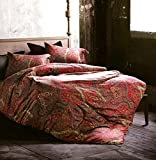 Boho Paisley Print Luxury Duvet Quilt Cover and Shams 3pc Bedding Set Bohemian Damask Medallion 350TC Egyptian Cotton Sateen (King, Spanish Red)