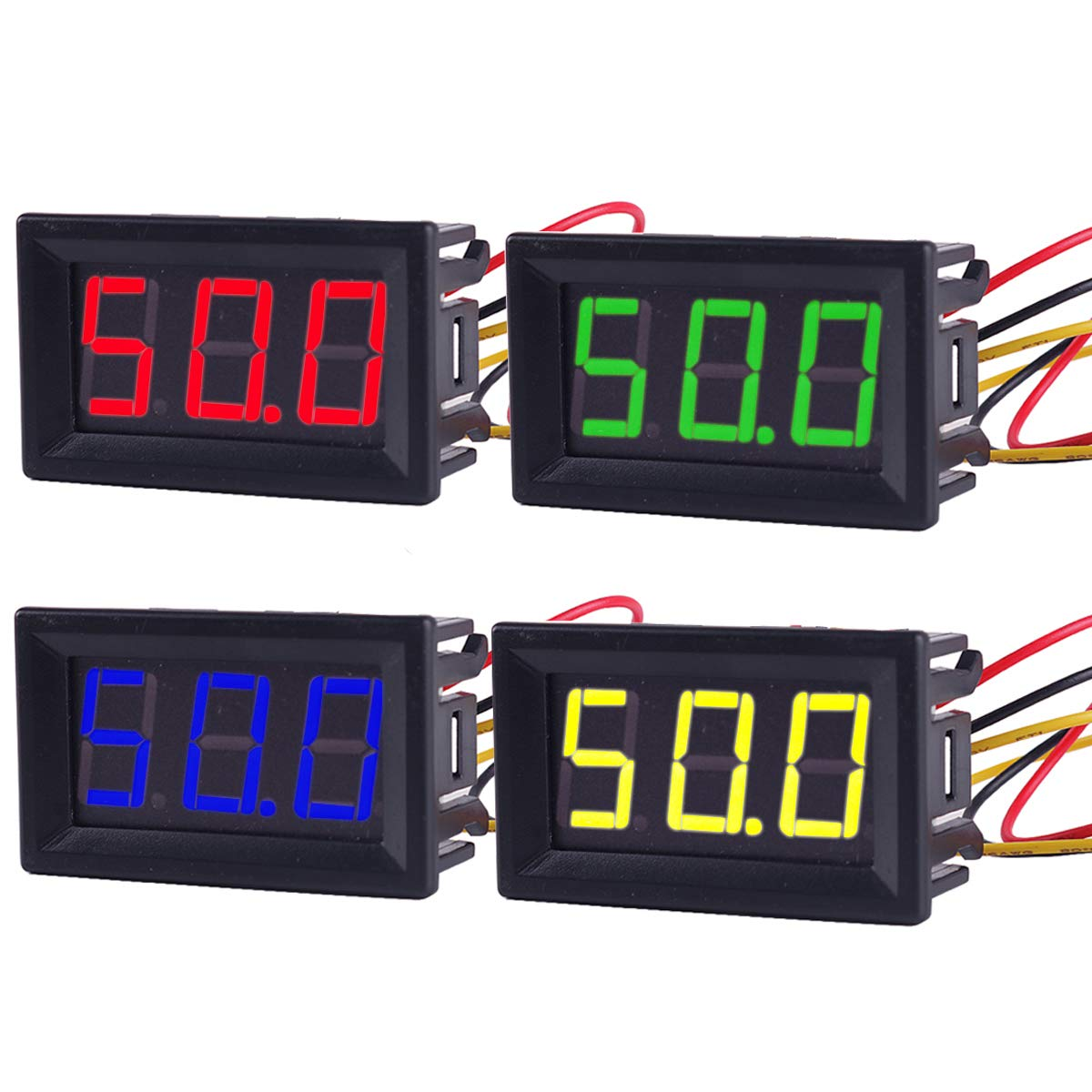 MakerFocus 4pcs Digital DC Voltmeter 0.56 Inch Two-Lines 2.5-30V Digital Voltmeter Gauge Tester LED Display Reverse Polarity Protection and Accurate Pressure Measurement 4 Colours