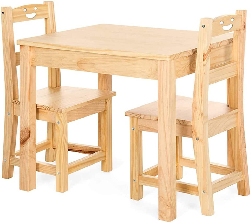 Morebeauty 100% Natural Wooden Kids Table & 2 Chair Sets Junior Table for Toddlers Ages 2-8 Years 3 Pieces Activity Desk for Toddlers - Environmental-Friendly Natural Solid Wood Childrens Table