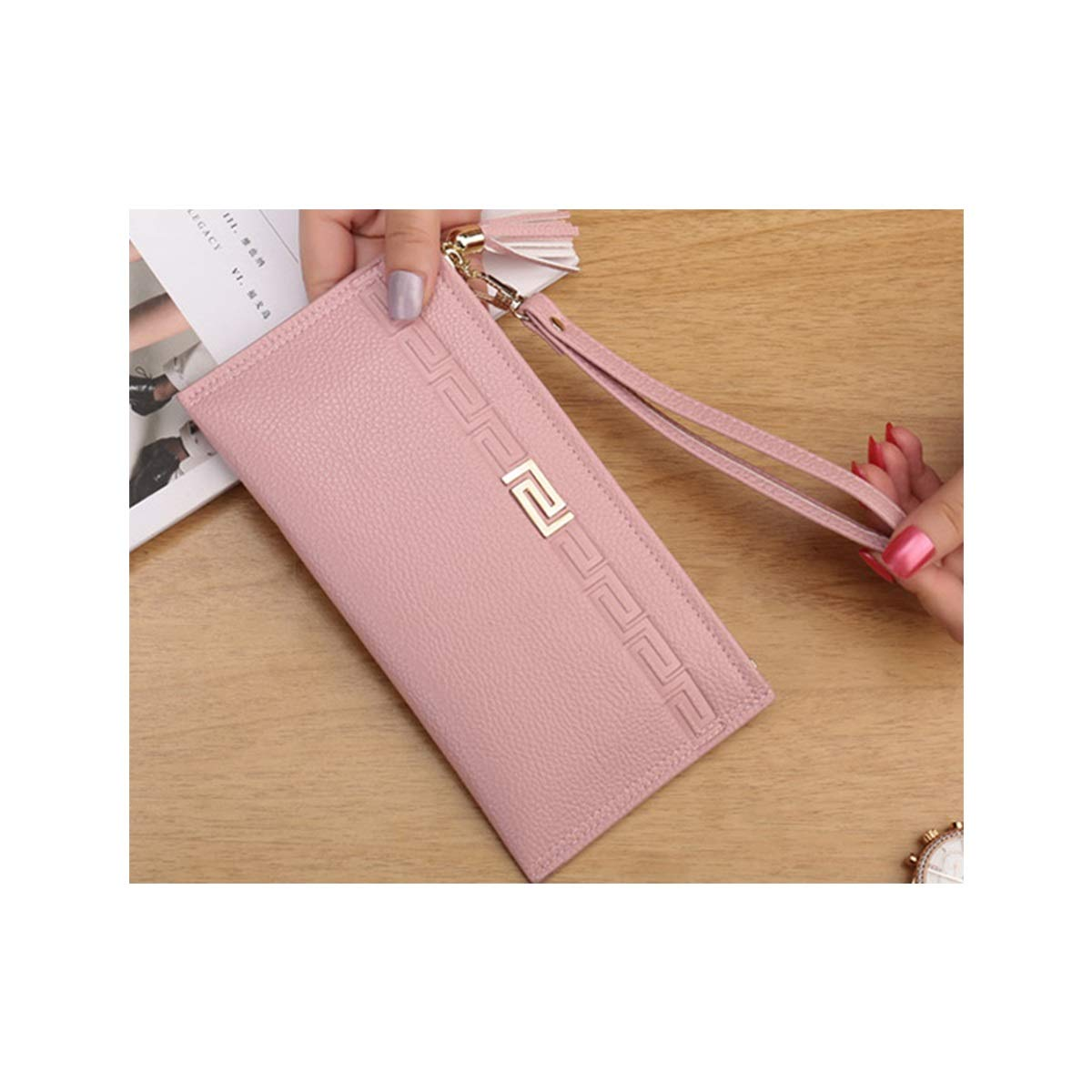 Xingganglengyin Womens Wallet Female Long Section Japanese and Korean Version of The Zipper Handbag Simple Large Capacity Student Thin Section Zipper Multi-Function Wallet Color : Red