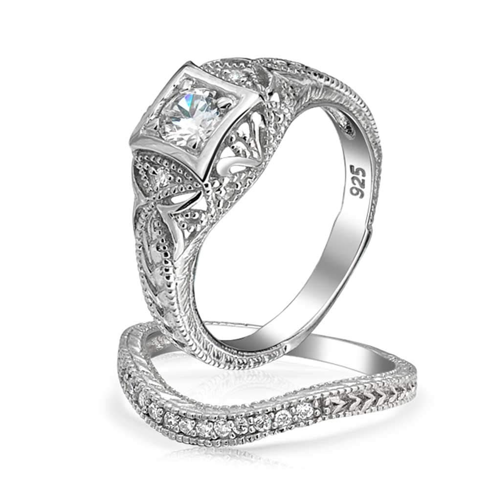 Antique Style 925 Silver Round CZ Vintage Style Waved Anniversary Wedding Ring Set