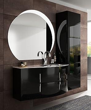 Arredobagnoecucine Meuble Salle De Bain Suspendu Moderne Sting Suspendu Noir  Brillant Taille 104 Cm, Avec