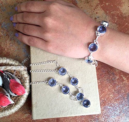SET of 2 - Purple Crystal Necklace & Bracelet/Silver Necklace/Bib Necklace - Everyday Wear Jewelry (Everyday Bib)