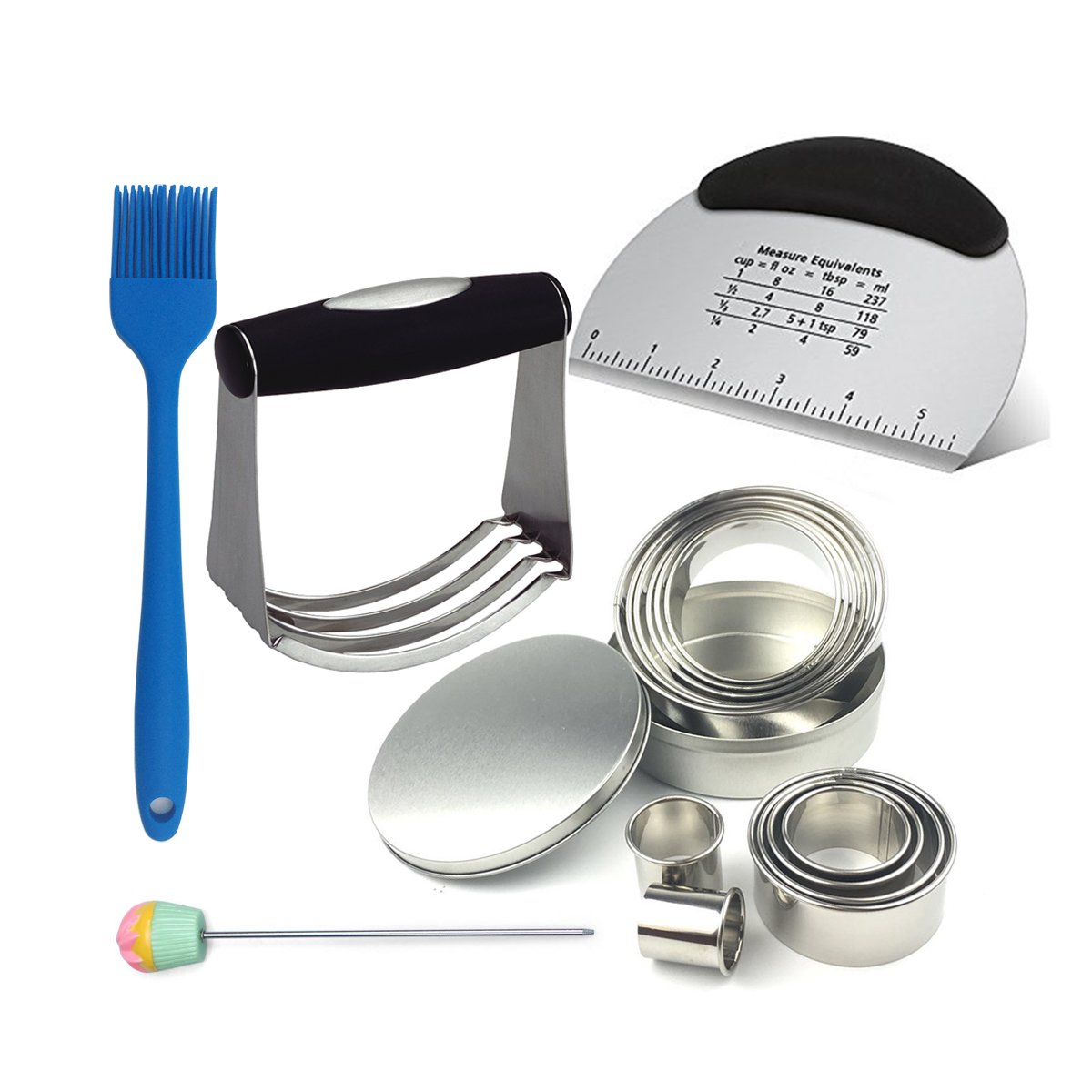 Baking & Pastry Utensils Set with Stainless Steel Dough Blender, Pastry Scraper, Biscuit Cutter Set(12 PCS), Basting Brush and Cake Tester, All in One Package