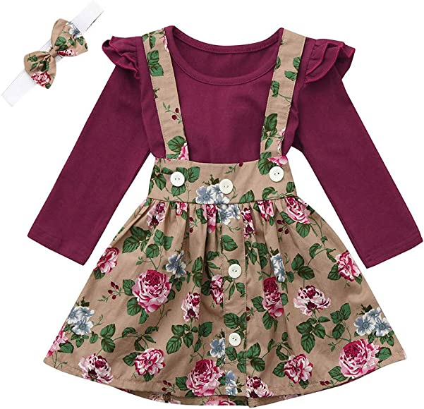 Infant Baby Girl 2 PCS Summer Outfits Ruffle Top+Suspender Braces Floral Overalls Skirt