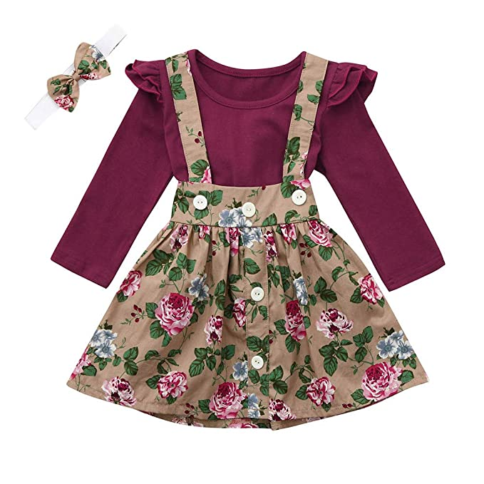 fae64aef8 Baby Girls Dresses, Cute Toddler Infant Newborn Baby Girl 3Pcs Overalls  Skirt +Headband+Romper Clothes Summer Autumn Outfits: Amazon.co.uk: Clothing