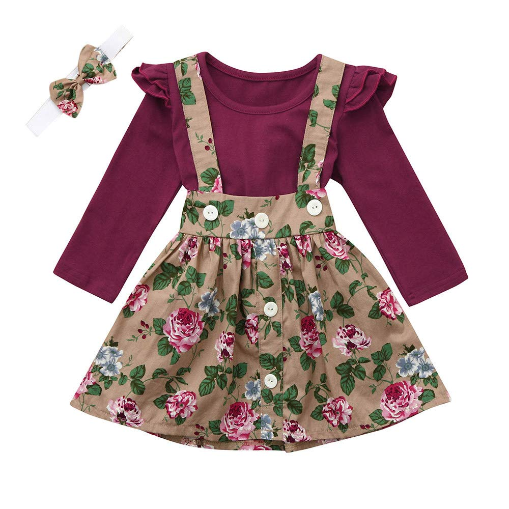 NUWFOR 3Pcs Toddler Infant Baby Girls Solid Ruffle Tops Floral Strap Skirt Clothing Set(Wine,6-12 Months