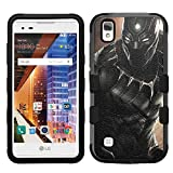 for LG Tribute HD, LG X Style, LG Volt 3, Hard+Rubber Dual Layer Hybrid Heavy-Duty Rugged Armor Cover Case - Black Panther #A