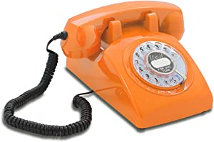 US-Style Retro Rotary Phone with Classic United States Wait for Dial Tone Inlay - The Opis 60s Cable in Orange