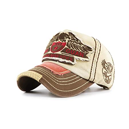 zhuzhuwen Americana Gorra de béisbol Bordado Lavado Viejo Sombrero ...