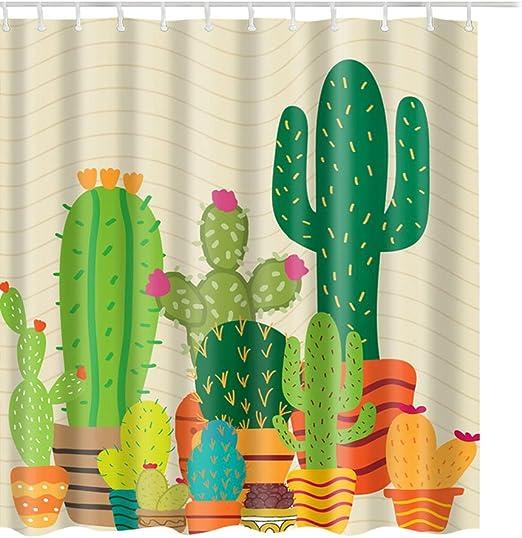 QH-Shop Cortinas de Ducha Cortina de la Ducha Impermeable y Resistente al Moho Impreso PEVA con Patr/ón Cactus Ba/ñera Cortina Durable Antibacterial Transpirable para Casa Hoteles 180*180 cm