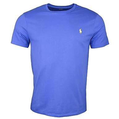 Ralph Lauren T Shirt col Rond Bleu Logo Jaune pour Homme: