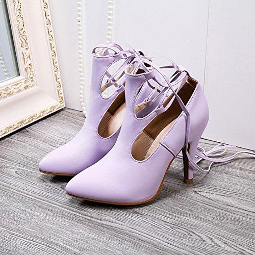 Aisun Damen Sexy Kunstleder Spitz Zehen Geschlossen Cut Out Schnürung Stiletto Sandale Violett