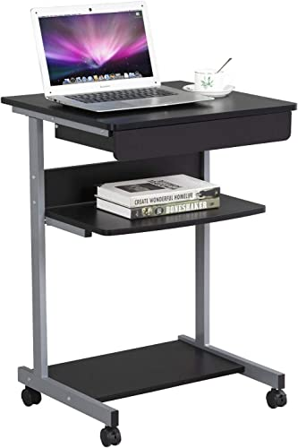 Topeakmart Mobile Compact Computer Desk Cart for Small Spaces, Work Workstation, Writing Desk Table with Drawers and Printer Shelf on Wheels