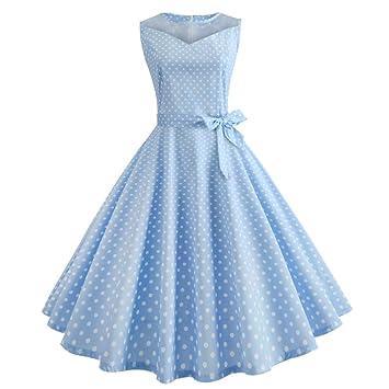 Wawer Vintage Summer Dresses for Women,Vintage Dot Printing Swing Dress, Casual Retro Mesh