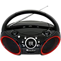 $29 » SINGING WOOD Portable CD Player AM FM Radio with Aux Line in, Headphone Jack, Foldable…