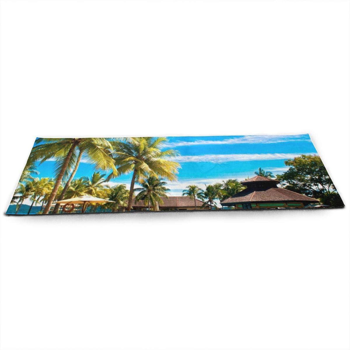 Esterilla de yoga para piscinas tropicales de Pacific Palms Hotel con estera extra gruesa antideslizante para ejercicio y fitness para yoga (70