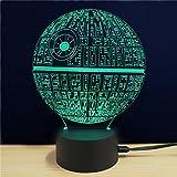 Amazing 3D illusion Effect LED Night Light Death Star LED Desk Table Night Light Lamp 7 Color