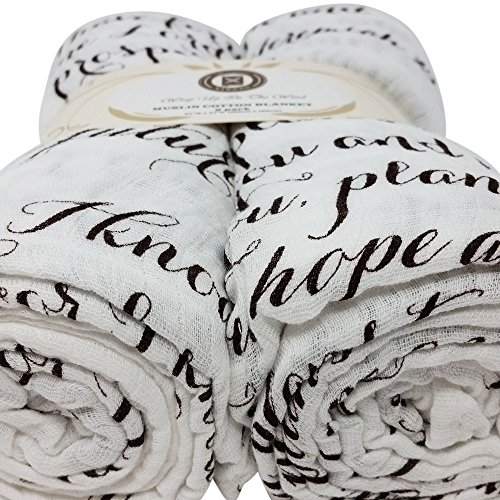 Indulgent Gift Set - Scripture Strong Jeremiah 29:11 | Best Muslin Baby Swaddle Blanket Gift Set | 100% Cotton Receiving Blankets | Extra Large (4'x4') | Brown, 2 Pack