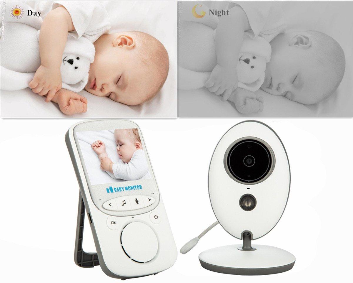 VOSMEP Mini Baby Monitor Inal/ámbrico V/ídeo con C/ámara Digital C/ámaras de Seguridad Dom/éstica Charla de Dos V/ías con Visi/ón Nocturna y Enchufe Totalmente Recargable EU BM015 Vigilabeb/és