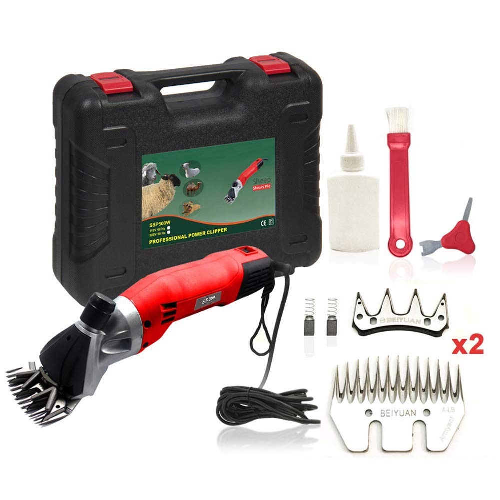 Red US Red US Sheep Shears Electric Shearing Clippers with 2 Blades,Red,US