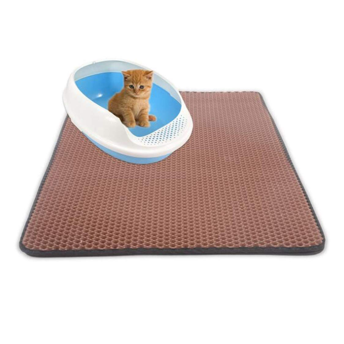 Medium Double Cat Litter Mat, Basin Mat, Cat Grab Pad, Honeycomb Double Layer Design, Waterproof Urine Material, Easy To Clean Eva Carpet, Oversized (Brown),M