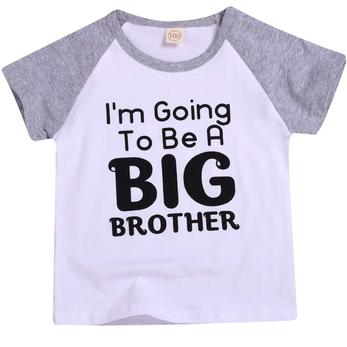 Baby Boys Im Going to Be A Big Brother Announcement T-Shirt Short Sleeve Sibling Shirt Toddler