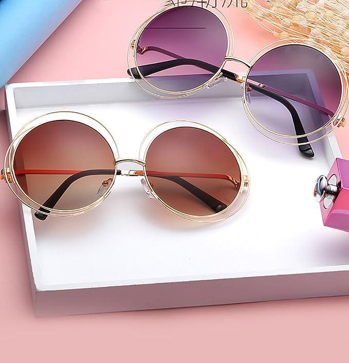 Zhhaijq des lunettes de soleil Round metal sunglasses for womens mens with Glasses Case 75ip3d8Q6